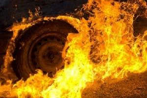 Сегодня ранним утром в Каменске-Уральском загорелась иномарка на улице 1 мая