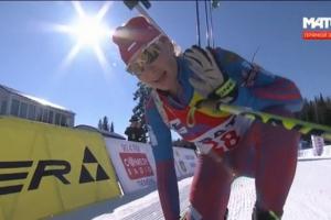 Сегодня Тамара Воронина из Каменска-Уральского выиграла серебряную медаль чемпионата России по биатлону