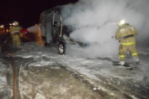 Сегодня утром в Каменске-Уральском горел автобус Mercedes Santos
