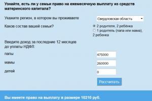 Калькулятор на сайте Пенсионного фонда РФ поможет определить право жителей Каменска-Уральского на ежемесячную выплату из средств материнского капитала